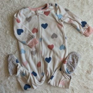 Carters Footed fleece heart pajamas size 18 months